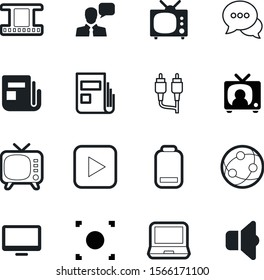 media vector icon set such as: empty, person, social, fuel, industry, plug, volume, device, view, talking, interface, cell, antique, human, filmstrip, icons, data, strength, low, network, shape