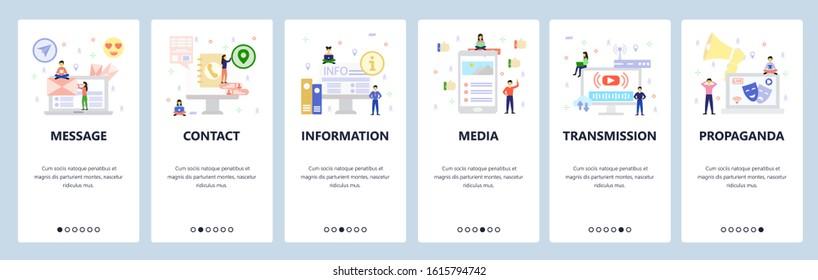 Media, video streaming, propaganda broadcast. Mobile app onboarding screens. Menu vector banner template for website and mobile development. Web site design flat illustration.