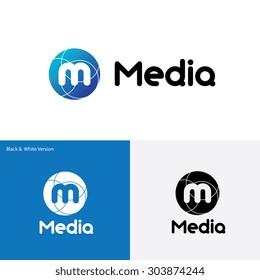 Media world, M letter logo template