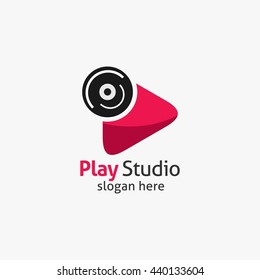 media/Studio play logo design. Colorful flat style media play logo vector template.