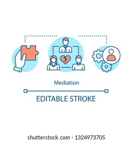 Mediation concept icon. Dispute resolution idea thin line illustration. Coworking. Divorce mediating. Separation agreement. Assisted negotiation. Vector isolated outline drawing. Editable stroke