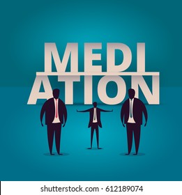 Mediation concept. Mediator assists disputing parties. Resolving conflict or dispute resolution illustration. Mediate businessman arbitrates or separates parties.