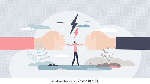 Mediation as conflict compromise and solution management tiny person concept. Disagreement and fight communication settlement with help from third party vector illustration. Business deal conversation