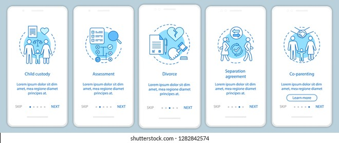 Mediation onboarding mobile app page screen vector template. Child custody, assessment, divorce, co-parenting. Walkthrough website steps with linear illustrations. UX, UI smartphone interface concept