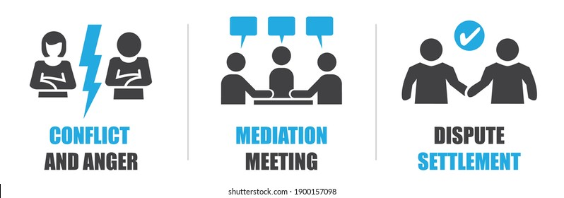 Mediation - Settlement of disputes by mediator. Dispute Resolution and Mediation Vector Illustration Concept.