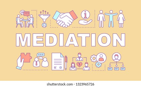 Mediation word concepts banner. Coworking. Dispute, conflict legal resolution. Divorce assist. Presentation, website. Isolated lettering typography idea with linear icons. Vector outline illustration