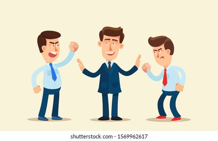 Mediator man is trying to reconcile two warring people. Businessman at work resolves the dispute of his subordinates. Men conflict at work. Business vector illustration, flat design cartoon style.