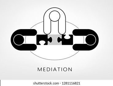 mediator and two persons add up puzzle pieces on the light grey background. flat style, top view, vector illustration, horizontal