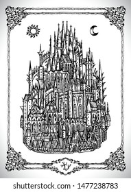 Mediaval castle or town with towers. Vector line art mystic illustration. Engraved drawing in gothic style. Occult, esoteric and fantasy concept