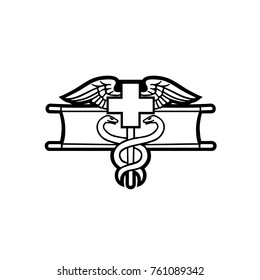 Medic badge black outlined vector