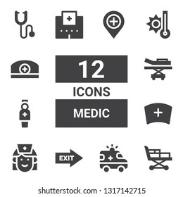 medic icon set. Collection of 12 filled medic icons included Stretcher, Ambulance, Exit, Nurse, Hospital, Temperature, Pharmacist, Phonendoscope