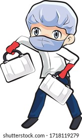 Medic staff bring two bags, character vector illustration