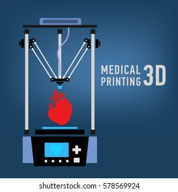 Medical 3d printer for duplication of human organs. 3D Bio-printer.Vector illustration