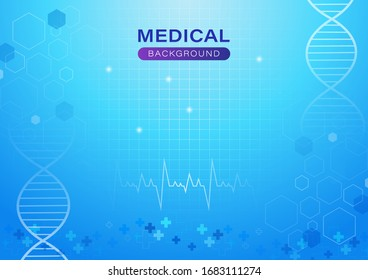 Medical abstract background. DNA and heart rate. Design with concept in blue light for website, banner, presentations, brochures or advertisements. Vector illustration