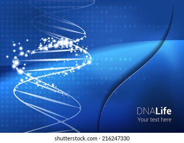 Medical Abstract DNA Background. DNA string with star glow effect on abstract blue background. Text and background on separate layers. Fully scalable vector illustration.