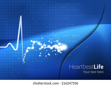 Medical Abstract Heartbeat Background.  Heartbeat with star glow effect on abstract blue background. Text and background on separate layers. Fully scalable vector illustration.