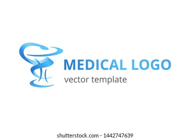 Medical abstract logo for medicine center, pharmacy, hospital with symbol of medicine - snake and bowl of hygieia - modern vector emblem