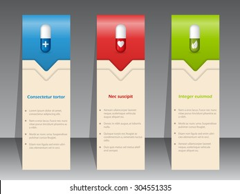 Medical advertisement with pills on color banner set