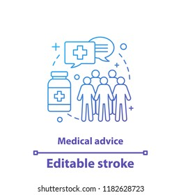 Medical advice concept icon. Public health idea thin line illustration. Medicine and healthcare. Epidemiology. Health service. Vector isolated outline drawing. Editable stroke