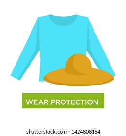 Medical advice wear protection from sunburn and sunstroke vector long sleeve shirt and straw beach hat medicine and healthcare ultraviolet beams