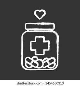 Medical aid chalk icon. Nursing service. Medical volunteering. Course of treatment. Can with different pills. Bottle with drugs, heart. Isolated vector chalkboard illustration