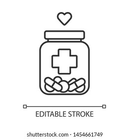 Medical aid linear icon. Nursing service. Medical volunteering. Course of treatment. Bottle with drugs, heart. Thin line illustration. Contour symbol. Vector isolated outline drawing. Editable stroke