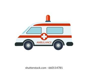 Medical ambulance car isolated icon. Emergency medical service vehicle, hospital transport vector illustration.