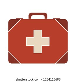 medical Ambulance case isolated vector - health emergency illustration sign . first aid bag sign symbol