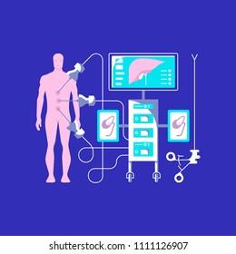 Medical ambulance icons in flat style. Laparoscopy icons isolated on dark blue background. Vector illustration eps 10