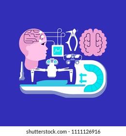 Medical ambulance icons in flat style. Neurosurgery and homogeneous knife icons isolated on dark blue background. Vector illustration eps 10