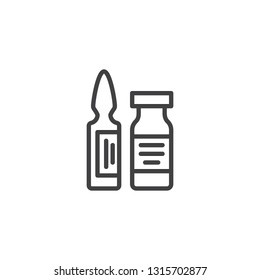Medical ampoule line icon. linear style sign for mobile concept and web design. Vial, ampoule with medicine outline vector icon. Healthcare symbol, logo illustration. Pixel perfect vector graphics