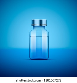 Medical ampoule, Objects on blue background. Vector illustration