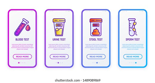 Medical analizes user mobile interface. Thin line icons: blood test, urine, stool, sperm. Laboratory research. Modern vector illustration for mobile app.