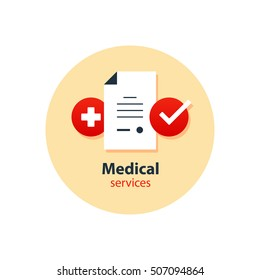 Medical analysis, annual check up, health insurance concept, hospital treatment. Health care services. Flat design vector illustration