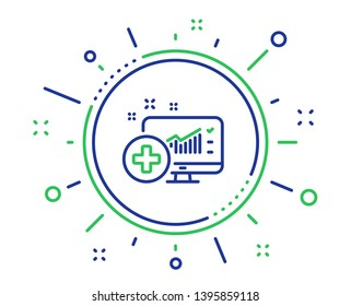 Medical analytics line icon. Hospital statistics sign. Quality design elements. Technology medical analytics button. Editable stroke. Vector