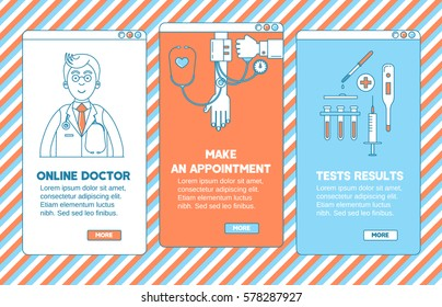 Medical app design. Online doctor, make an appointment  and test results.