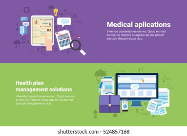 Medical Application, Health Plan Management Solution Web Banner Flat Vector Illustration