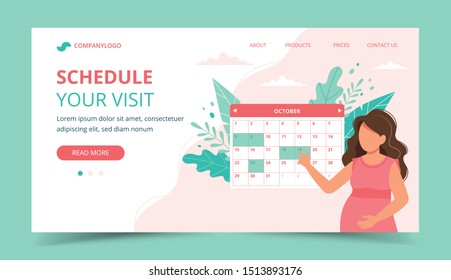 Medical appointment pregnancy. Pregnant woman scheduling an appointment with calendar. Landing page template. Cute vectorillustration in flat style