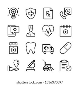 Medical assistance line icons set. Modern graphic design concepts, simple outline elements collection. Vector line icons