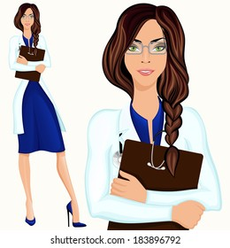 Medical attractive doctor assistant standing in white lab coat with document folder vector illustration