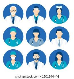 Medical avatars set . Medical clinic staff flat avatars. icon