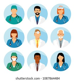 Medical avatars set vector. Medical clinic staff flat avatars.