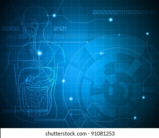 Medical background. Abstract digestive system.