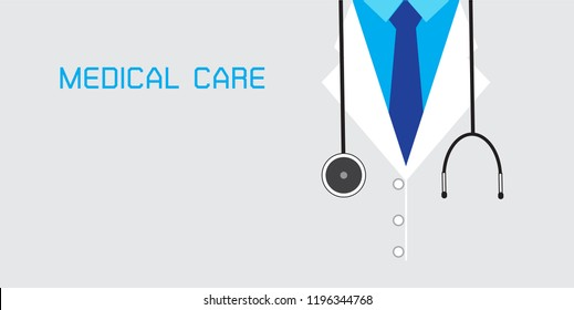 Medical background with close up of doctor with stethoscope. Vector illustration EPS 10.