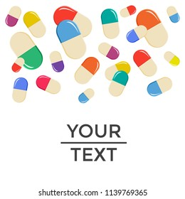 Medical background with falling colorful pills. Vector illustration