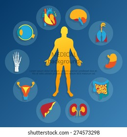 Medical background. Flat design icons for medical theme. Human anatomy, huge collection of human organs