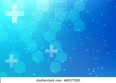 Medical Background with Lines, Dots, Molecules, Figures on Colored Texture.  Concept of Technological and Scientific Illustration.  Vector Template of Health Brochure.