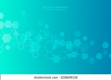Medical background with molecules structure. Geometric abstract vector. Science and technology concept
