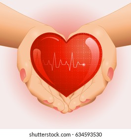 Medical background with open hands holding red heart. Vector illustration.
