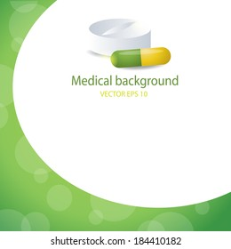 Medical background. Pill and tablet. EPS 10 vector file.